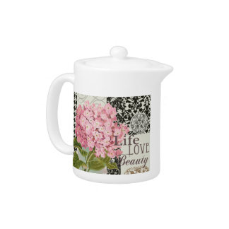 Damask Pattern Floral Decorative Collage Teapot