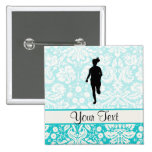 Damask Pattern; Girl Running 2 Inch Square Button