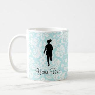Damask Pattern; Girl Running Classic White Coffee Mug