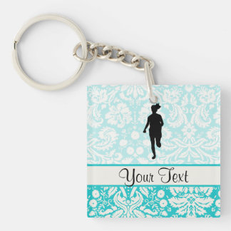Damask Pattern; Girl Running Double-Sided Square Acrylic Keychain