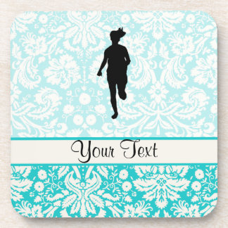 Damask Pattern; Girl Running Drink Coaster