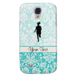 Damask Pattern; Girl Running Galaxy S4 Cover