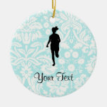 Damask Pattern; Girl Running Double-Sided Ceramic Round Christmas Ornament