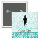 Damask Pattern; Girl Running Pinback Button