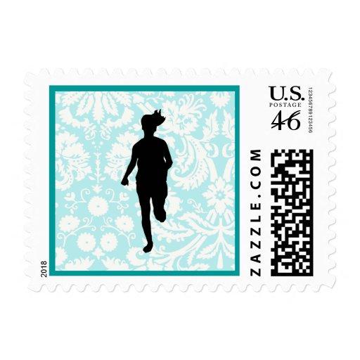 Damask Pattern; Girl Running Stamp