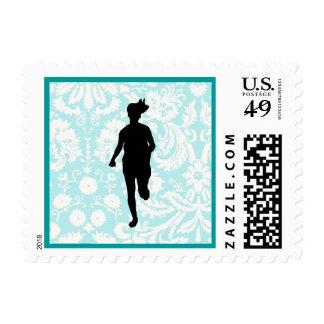 Damask Pattern; Girl Running Postage Stamp