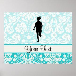 Damask Pattern; Girl Running Poster