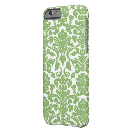 Damask Pattern - Green White Barely There iPhone 6 Case