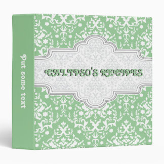 Damask pattern green, white & grey frame recipe 3 ring binder