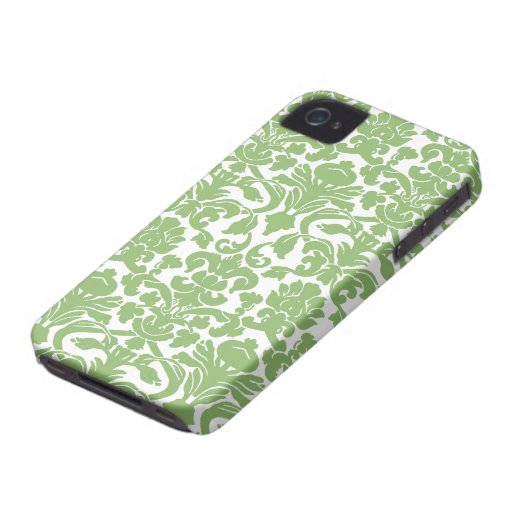 Damask Pattern - Green White iPhone 4 Cases