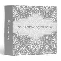 Damask pattern grey, white & grey  frame recipe 3 ring binder