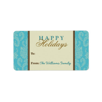 Damask Pattern Holiday Gift Tag (aqua/brown) Personalized Address Labels