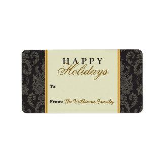 Damask Pattern Holiday Gift Tag (black/gold) Custom Address Labels