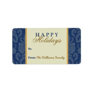 Damask Pattern Holiday Gift Tag (blue/gold) Custom Address Labels