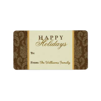 Damask Pattern Holiday Gift Tag (brown/gold) Personalized Address Labels