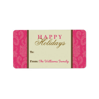 Damask Pattern Holiday Gift Tag (fuchsia/brown) Address Label