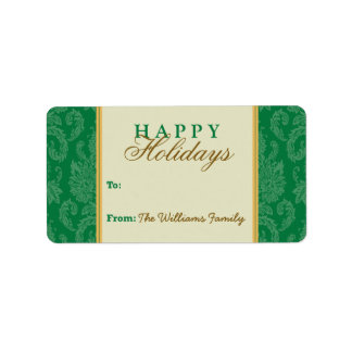 Damask Pattern Holiday Gift Tag (green/gold) Personalized Address Labels