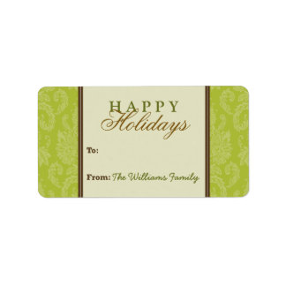Damask Pattern Holiday Gift Tag (lime/brown) Custom Address Labels