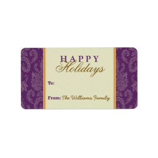 Damask Pattern Holiday Gift Tag (purple/gold) Custom Address Label
