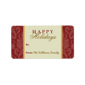Damask Pattern Holiday Gift Tag (red/gold) Custom Address Labels