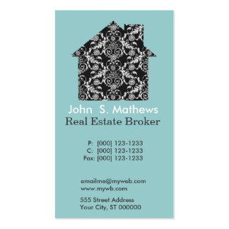 Damask Pattern House Business Card Templates