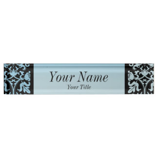 Damask Pattern in Aqua Blue and Black | DIY Text Desk Name Plate