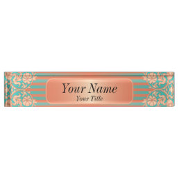 Damask Pattern in Coral & Teal | DIY Text Name Plate