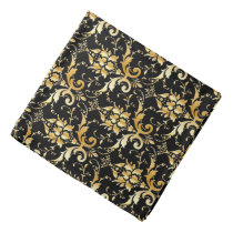 Damask pattern in faux gold and black bandana