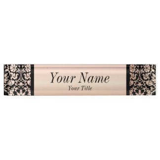 Damask Pattern in Pink Rose and Black | DIY Text Name Plate
