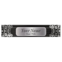 Damask Pattern in Silver Gray & Black   DIY Text Desk Name Plate