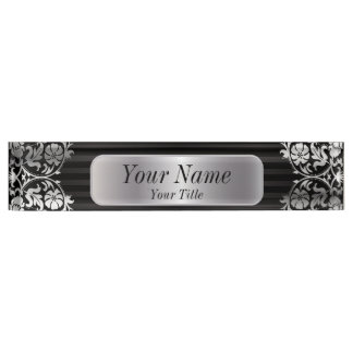 Damask Pattern in Silver Gray & Black | DIY Text Desk Name Plate