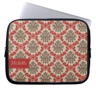 Damask Pattern Laptop Sleeve with Your Name
