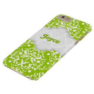 Damask pattern lime green, white cute girly barely there iPhone 6 plus case
