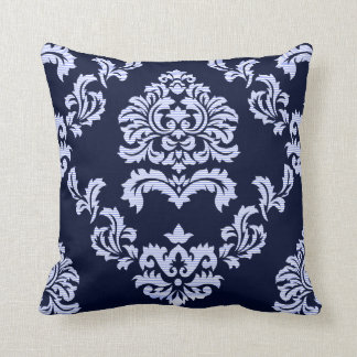 Damask Pattern Navy Blue and Light Blue Stripe Throw Pillow
