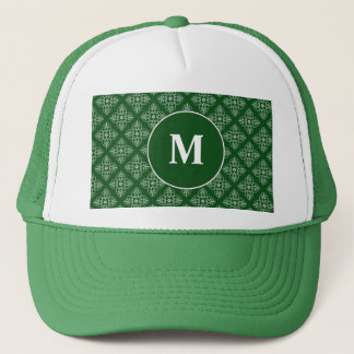 Damask pattern on dark green trucker hat