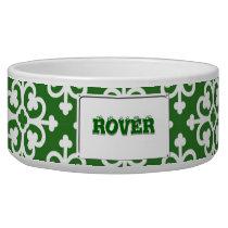Damask pattern on Green Bowl