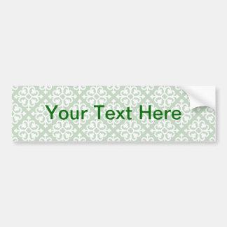 Damask Pattern on Green Bumper Sticker