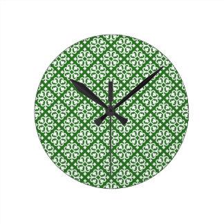 Damask Pattern on Green Round Wallclock