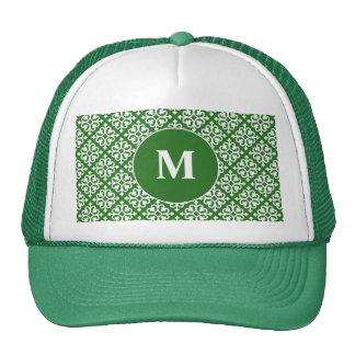 Damask Pattern on Green Trucker Hat