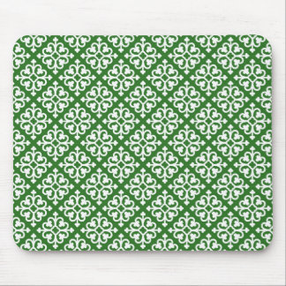 Damask pattern on Green Mouse Pad