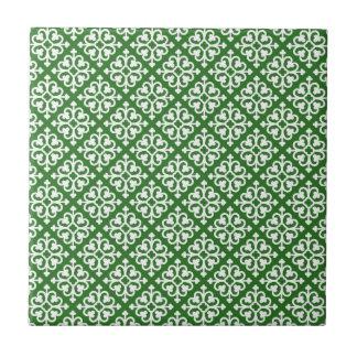Damask Pattern on Green Tile