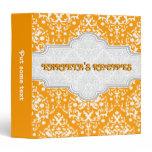 Damask pattern orange, white & grey  frame recipe 3 ring binder