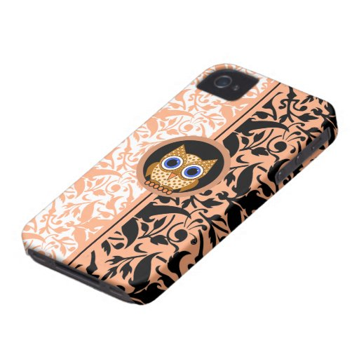 damask pattern owl Case-Mate iPhone 4 cases