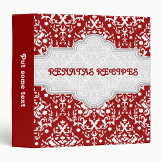 Damask pattern red, white & grey  frame recipe vinyl binders