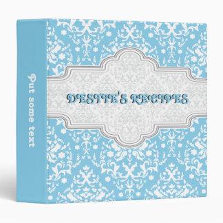 Damask pattern sky blue, white & grey frame recipe 3 ring binder