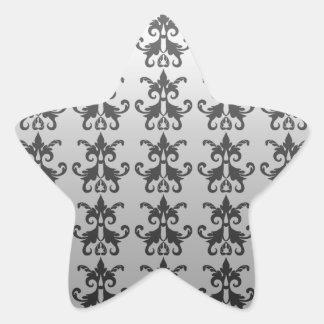 Damask pattern star sticker