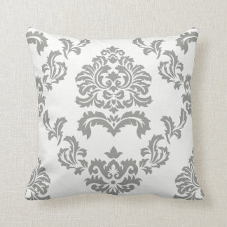 Damask Pattern White and Light Grey Throw Pillow