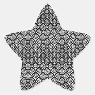 Damask Pattern, White Damask on Black Background Star Sticker