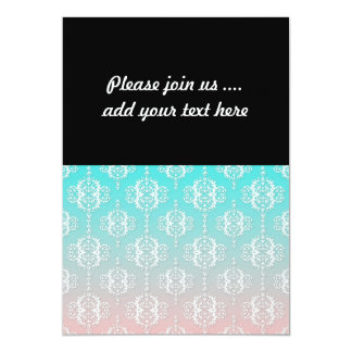 Damask Pattern White over Pink blended to Teal Card
