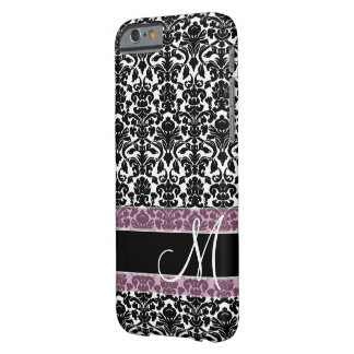 Damask Pattern with Monogram Barely There iPhone 6 Case